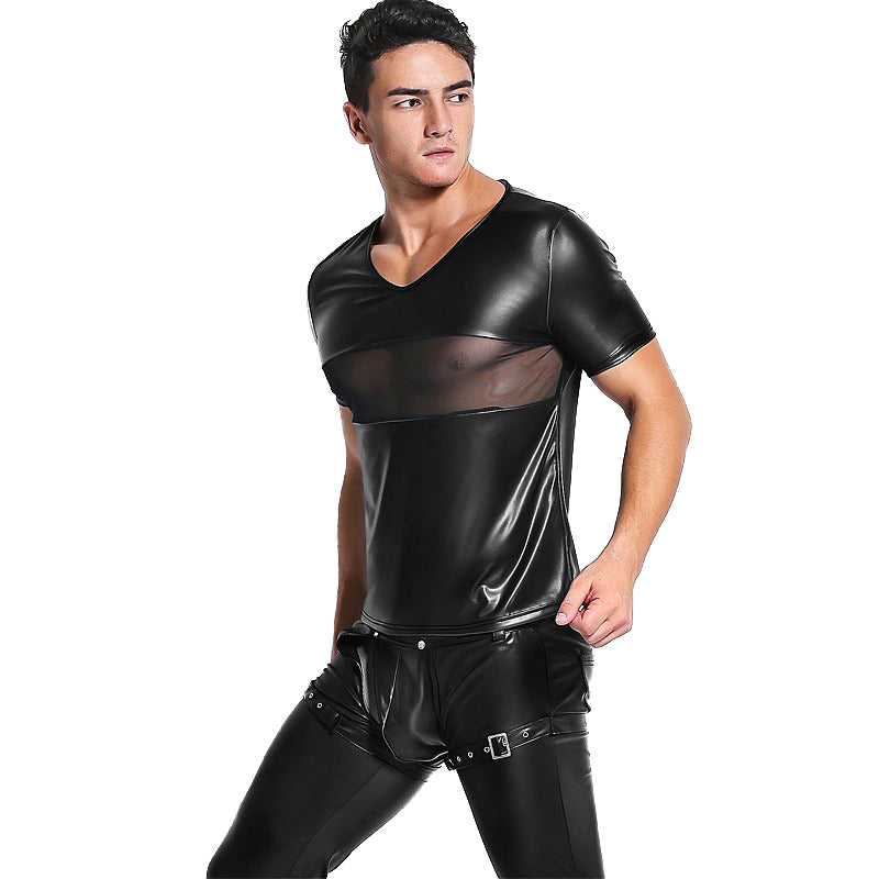 Men's Sexy Teddy Tee Mesh / Latex Transparent Men Tops / Vintage Rock t shirts - HARD'N'HEAVY