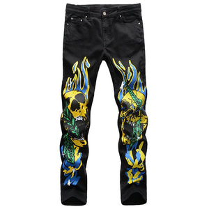 Men's Skull with Flame 3D Print Jeans / Streetwear Painted Slim Straight Stretch Denim Pants