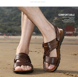 Men's Summer Leather Sandals / Beach Slip-on Casual Shoes / Aesthetic Outfits - HARD'N'HEAVY
