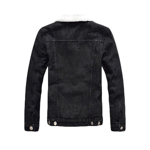 Men's Winter Warm Fleece Slim Fit Black Denim Jacket and Coat
