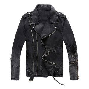 Men's zippers black biker jacket in classic Rock Style / Denim slim jacket with belt