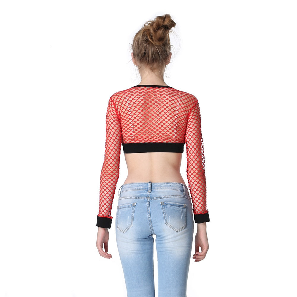 Mesh Fishnet Tops / Women's Hollow Out Net Long Sleeve Crop Top / See-Through Female Top - HARD'N'HEAVY