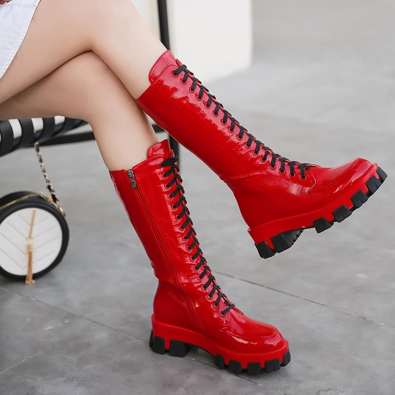 Microfiber Womens Boots / Lace-Up Round Toe Platform Knee High Boots / Solid Color Female Shoes - HARD'N'HEAVY