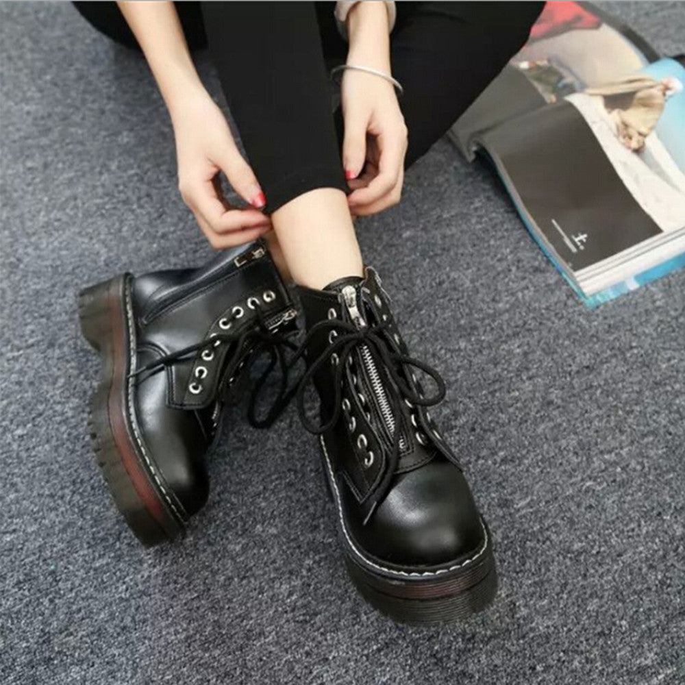 Mid-calf Round Toe Martin Boots / PU Leather Steampunk Boots / Women's Shoes in Rock Style - HARD'N'HEAVY