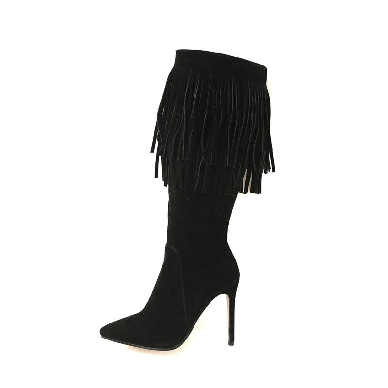 Mid Calf Womens Boots / Pointed Toe Autumn/Winter Boots / Female Aesthetic Shoes - HARD'N'HEAVY