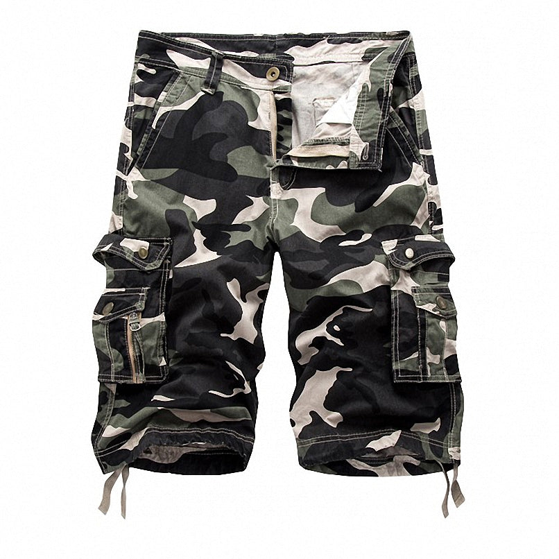Military Camo Cargo Shorts / Alternative Fashion Camouflage Multi-Pocket Pants / Rave Outfits - HARD'N'HEAVY