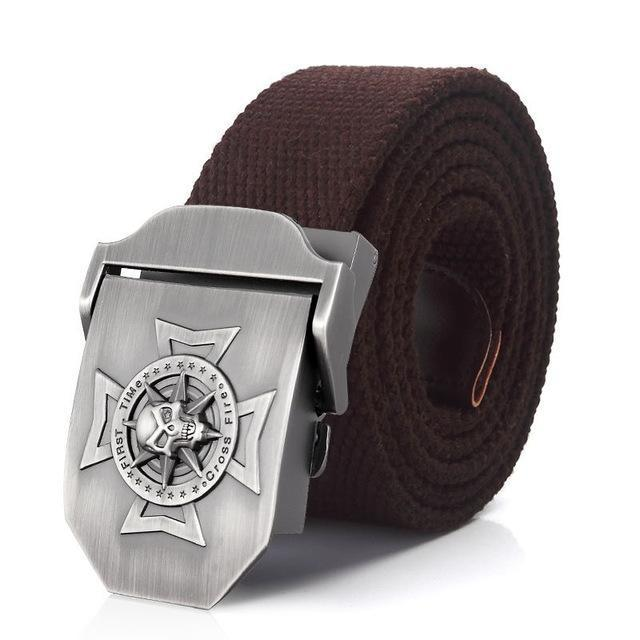 Waistband Skull Cross Metal Belt Buckle / Military Tactical Belts In Rock Style #2 - HARD'N'HEAVY