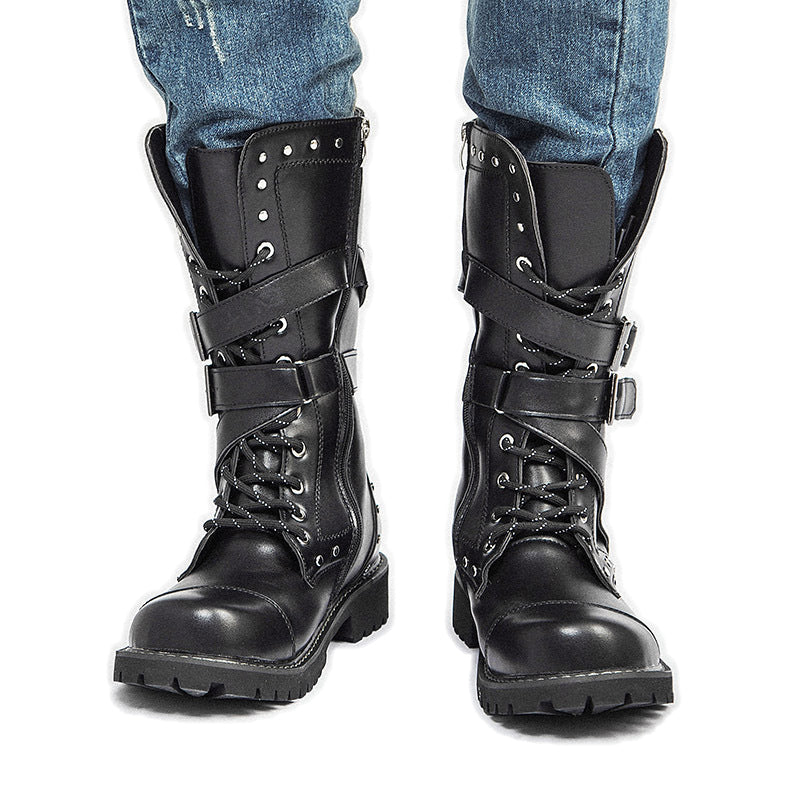 Motorcycle Lace Up Men's Rock Boots / Army Combat High Ankle Shoes / Military Metal Buckle Punk - HARD'N'HEAVY