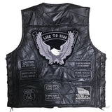 Motorcycle Leather Vest / Men Alternative Fashion Punk Rock Style / V Neck Sleeveless Jacket