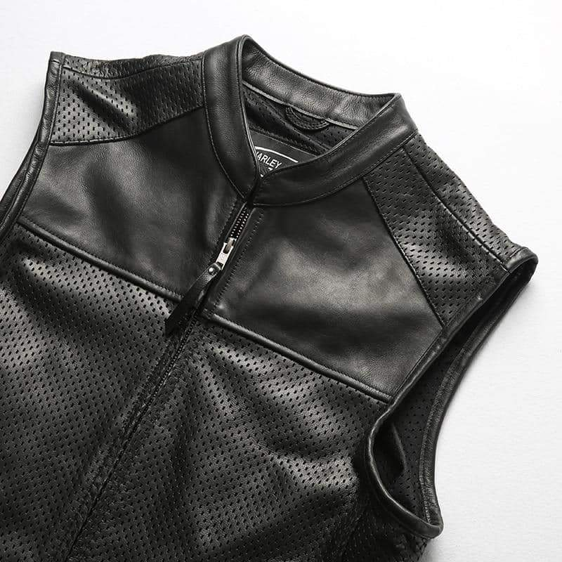 Biker Vest / Mesh Breathable Cowhide Rave Outfits / Alternative Fashion Perforated Genuine Leather - HARD'N'HEAVY