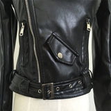 Off Shoulder faux Leather Jacket / Motorcycle Outerwear for Women in Rock Style - HARD'N'HEAVY