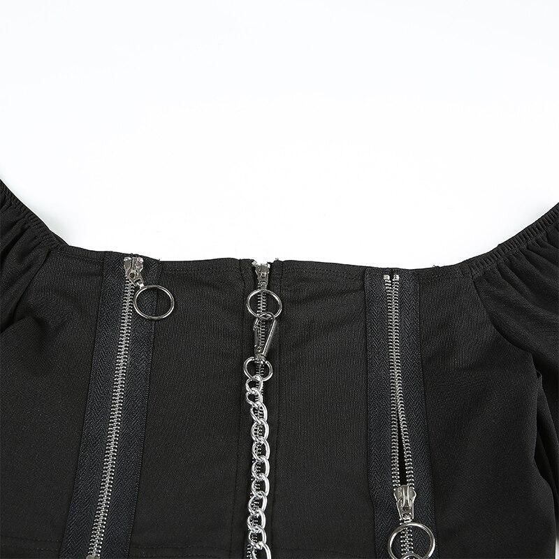 Off Shoulder Female Top in Rock Style / Long Sleeve Tops Clothing with Zipper - HARD'N'HEAVY