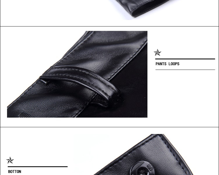 Old School Men Leather Pants / High Waist Smart Male PU Faux Leather Trousers / Plus Size - HARD'N'HEAVY