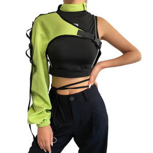 One Shoulder Reflective Camis for Women / Neon Halter Smocked / Holographic Outerwear