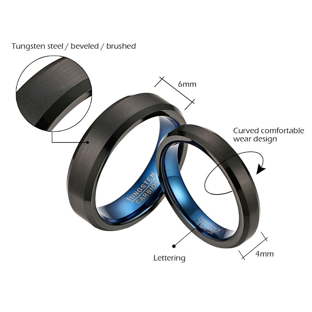 Rock & Metal Style Black Tungsten Ring with Blue Inside / I Love You Comfort Fit Couple Rings - HARD'N'HEAVY