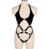 Open Butt Women Bodysuit / Wet Look Patent Leather Body Harness / Gothic Underwear Role Play Costume