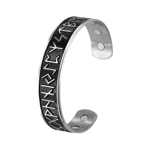 Open Cuff Magnetic Therapy Bracelet / Stainless Steel Unisex Bangle / Antique Nordic Rune Jewelry