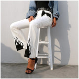 Paneled Flame Print High Waist White Trousers with Long Flare for Women