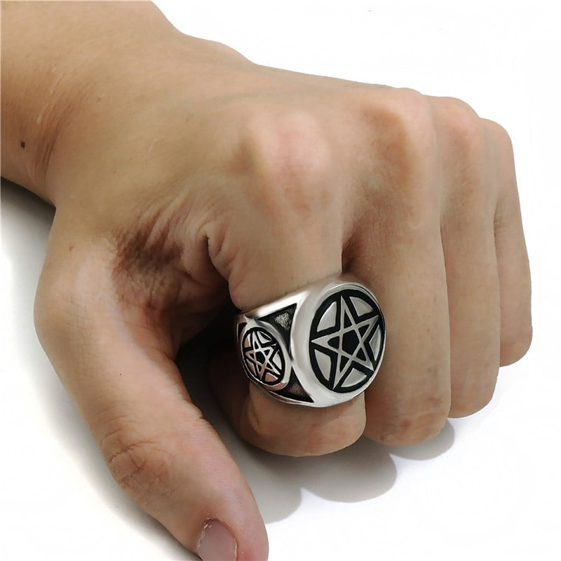Pentagram Pentacle Star Ring / Punk Band Occult Jewelry / Biker Rings - HARD'N'HEAVY