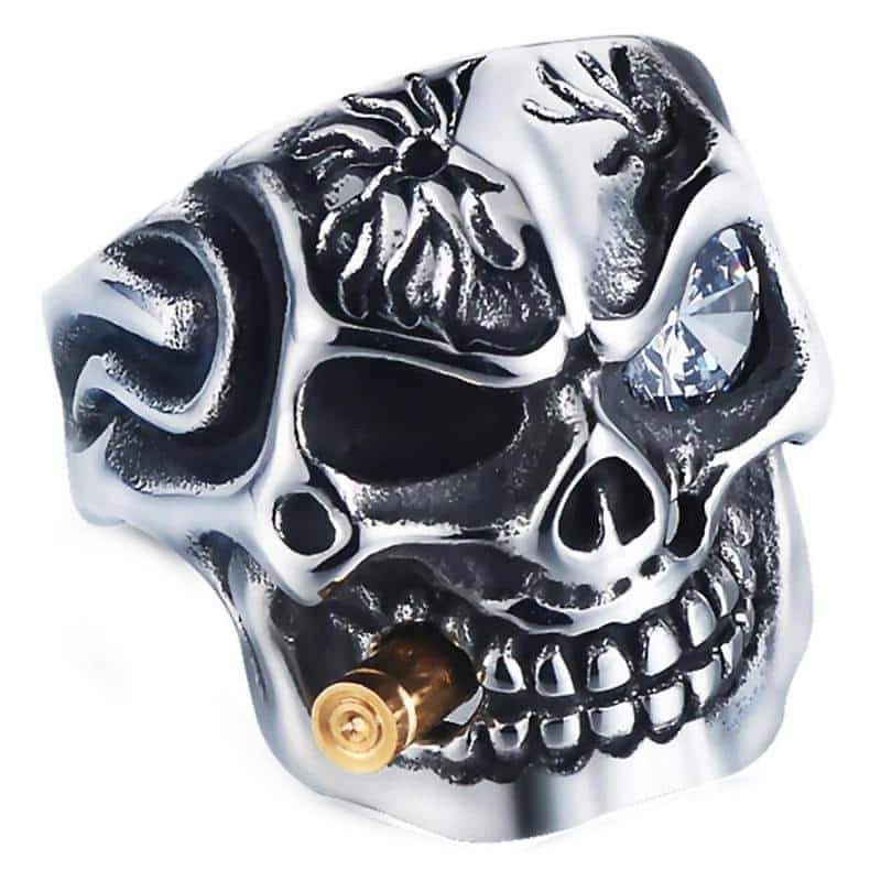 Pirate Skeleton Ring / Stainless Steel Ring With Crystal / Biker Jewelry - HARD'N'HEAVY