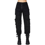Pleated Gothic Pants For Women / Autumn Fashion Female Trousers with Zipper and Pockets - HARD'N'HEAVY