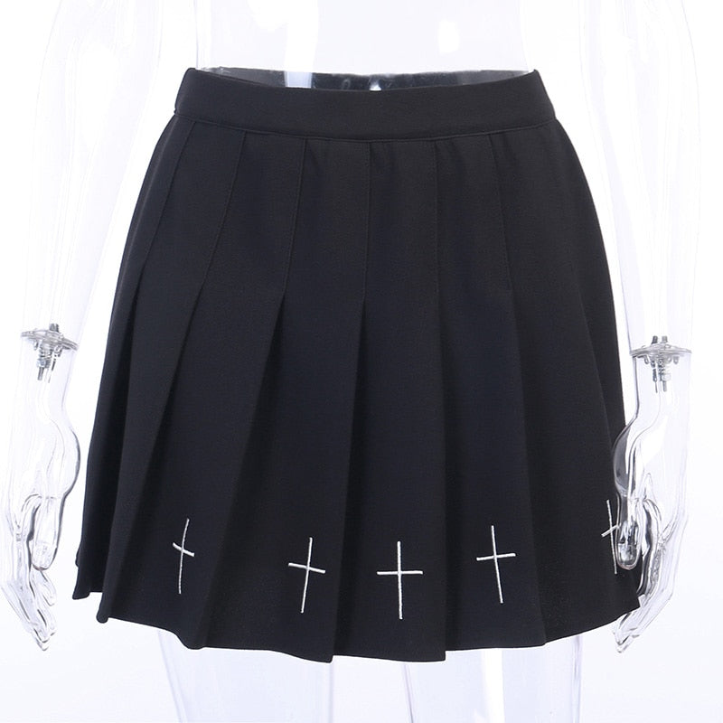 Pleated gothic women skirts / A-line black mini skirt alternative outfits / Rock chick clothes - HARD'N'HEAVY