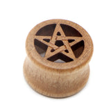 Plugs and Tunnels with Pentagram / Earrings Stretcher / Wood Star Expander Body Piercing - HARD'N'HEAVY