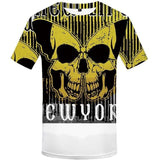 Men T-Shirt Black And White Punk Rock Clothes Gothic Style 3d Print Clothing Streetwear - HARD'N'HEAVY