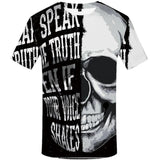 Men T-Shirt Black And White Punk Rock Clothes Gothic Style 3d Print Clothing Streetwear