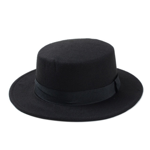 Wide Brim Gambler Hat / Man Alternative Fashion / Flat Top Fedora - HARD'N'HEAVY
