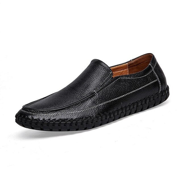 Men's Leather Moccasins / Luxury Casual Loafers / Rock Style Walking Shoes - HARD'N'HEAVY