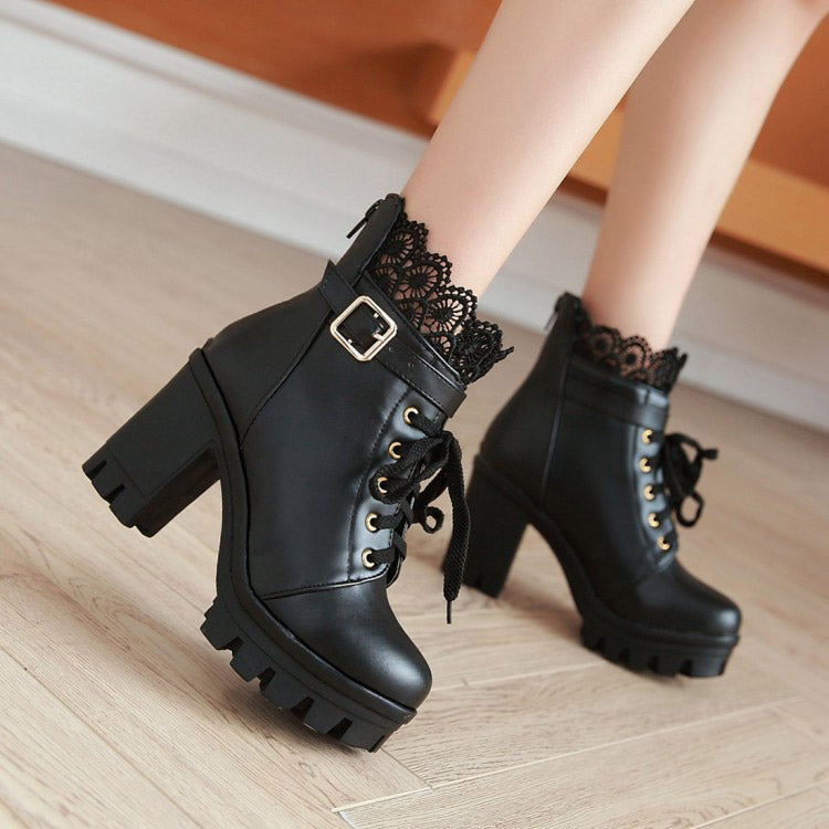 Pu Leather Warm Winter Women's Boots / Lace-Up Shoes for Women in Gothic Style - HARD'N'HEAVY
