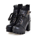 Pu Leather Warm Winter Women's Boots / Lace-Up Shoes for Women in Gothic Style