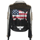 PU Leather Women's Jacket / Letter Print Graffiti Rivets Coats / Biker Fringed Motorcycle Jackets - HARD'N'HEAVY