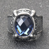 Punk Cool Rings / Stainless Steel Statement Ring with Claw Blue Stone / Crystal Band Fashion Jewelry - HARD'N'HEAVY