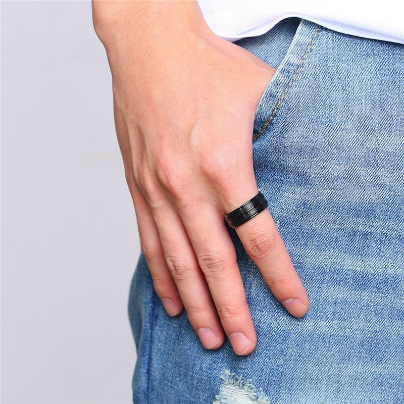 Punk Matte Stainless Steel Ring with Groove / Black Men's Jewelry / Rave outfits - HARD'N'HEAVY