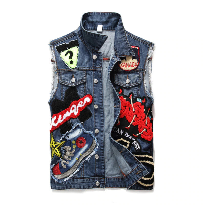 Punk Men Denim Vests / Black Rock Style Skull Embroidery Waistcoat / Punk Rock Clothing - J2862 - HARD'N'HEAVY