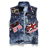 Punk Men Denim Vests / Black Rock Style Skull Embroidery Waistcoat / Punk Rock Clothing - J2866 - HARD'N'HEAVY