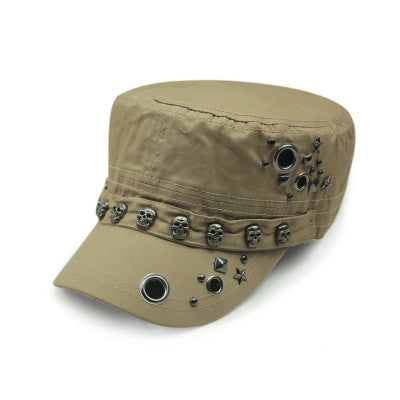 Punk Rock Skull Rivet Flat Peaked Hats / Men Women Alternative Fitted Baseball Caps / Rave outfits - HARD'N'HEAVY