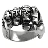 Punk Rock Zinc Alloy Biker Skull Fist Ring / Vintage Gothic Jewelry / Alternative Fashion - HARD'N'HEAVY