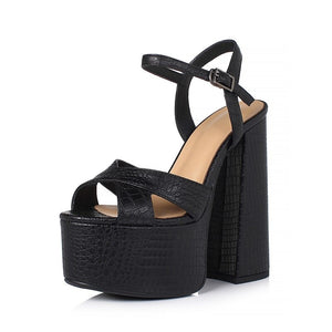 Quality Genuine Leather Women's Shoes / Sexy Heel Platform Black Sandals