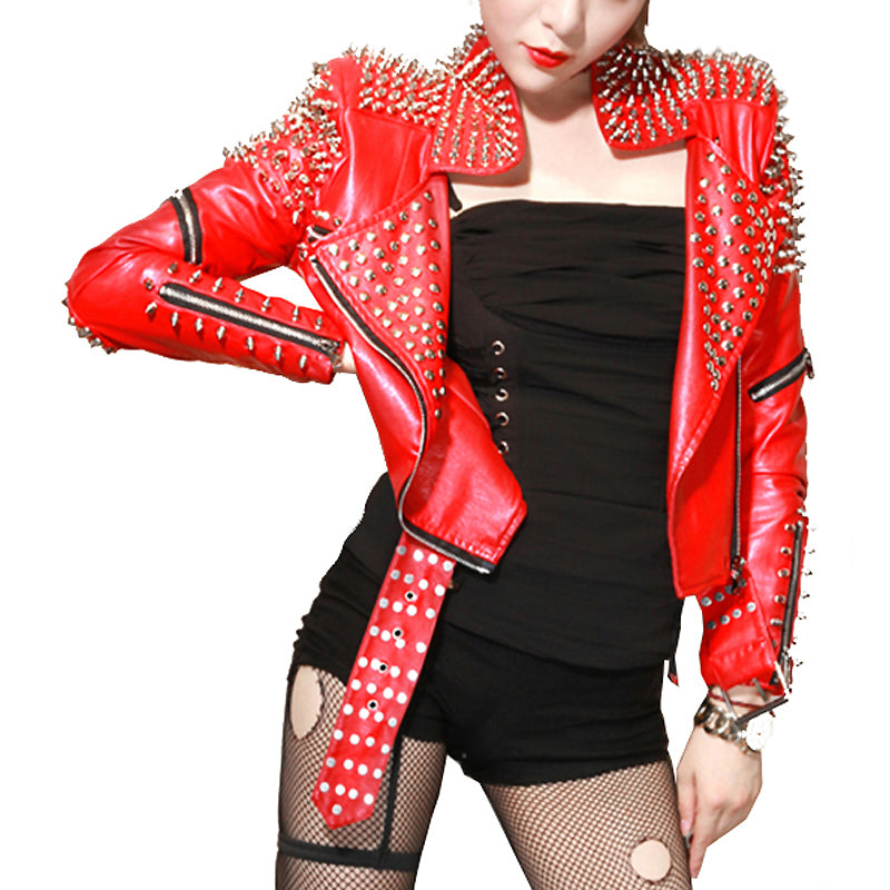 Red Leather Jackets for Women / Punk Studded Motorcycle Leather Jackets / Punk Rock Clothing - HARD'N'HEAVY