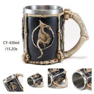 Resin and Stainless Steel Beer 450ml Mug / Retro Viking Pub Bar Mug with Dragon Bones