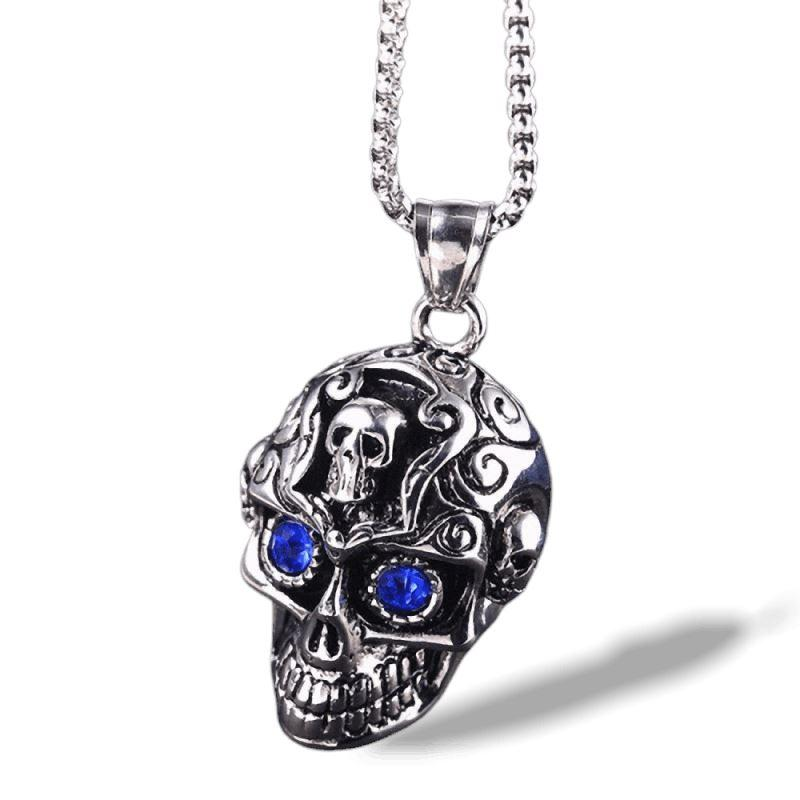 Retro Blue Eyes Skull Pendant Necklace Chain / Rock Style Titanium Steel Jewelry - HARD'N'HEAVY