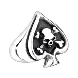 Retro Card Cross Skull Ring / Stainless Steel Unisex Rock Style Jewelry - HARD'N'HEAVY