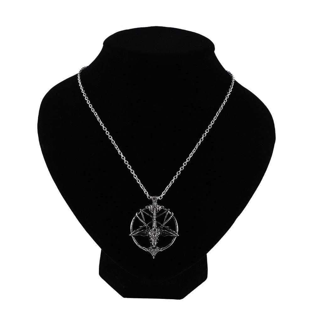 Retro Pentagram God Skull Goat Head Pendant with Chain Necklace / Unisex Vintage Jewellery - HARD'N'HEAVY
