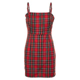 Retro Red Plaid Printing Bodycon Mini Dresses / Women's Party Dress / Vintage Fashion Clothes - HARD'N'HEAVY