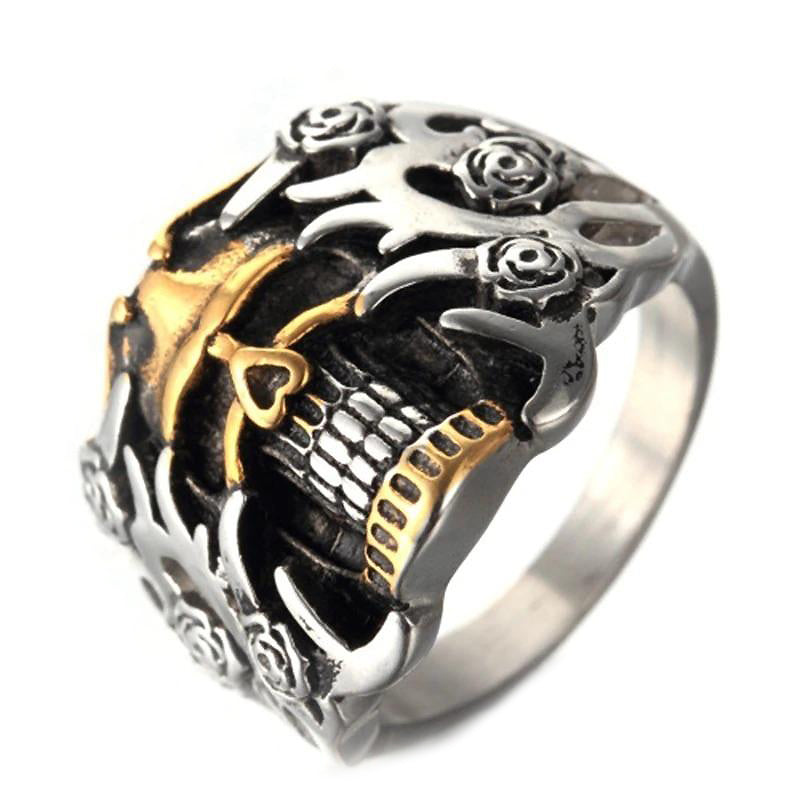 Retro Skull Double Color Ring / Punk Rock Mens Cool Rings / Alternative Fashion Jewelry - HARD'N'HEAVY