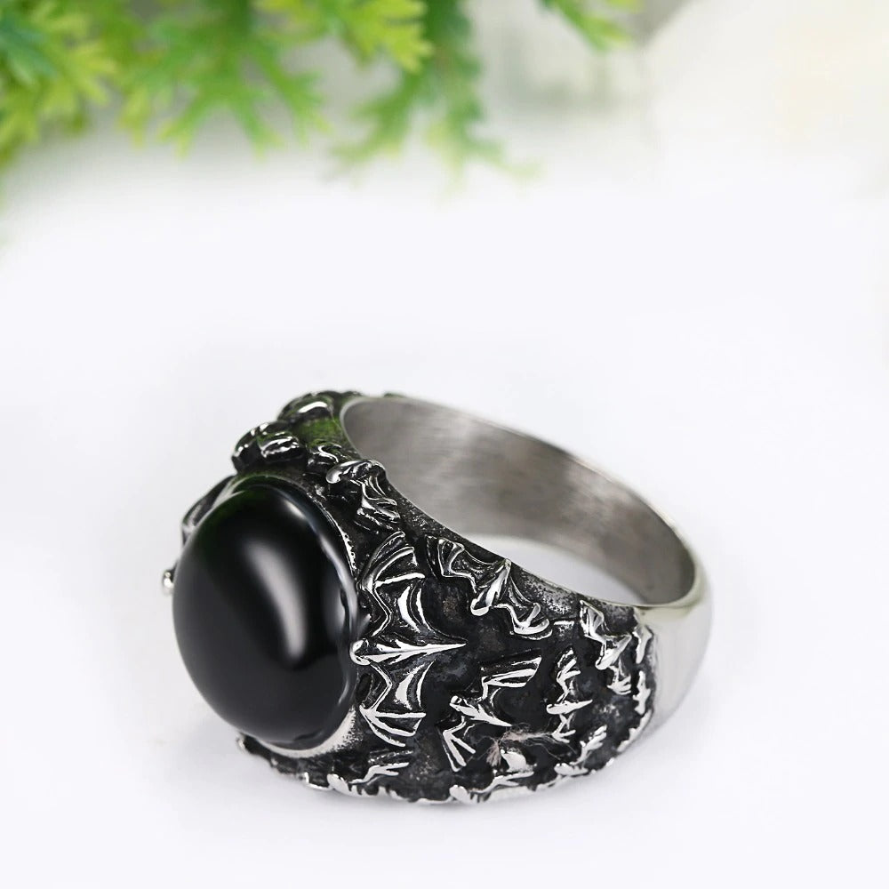 Retro Vintage Gothic Black Stainless Steel Ring With Tiger Eye / Rocker Jewelry - HARD'N'HEAVY