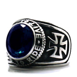 Ride To Live, Live To Ride / Biker Cross Rock Style Ring / Unisex Stainless Steel Blue Stone Ring - HARD'N'HEAVY
